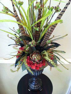 381 best artificial flower arranging images on pinterest elegant tall faux floral arrangement artichoke red hydrangea silk floral arrangement mantel arrangement entryway arrangement mightylinksfo