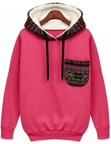 Red Hooded Long Sleeve Pocket Sweatshirt US$20.67