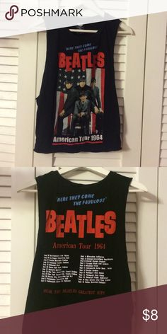 Beatles 1964 Concert Tank Top With Deep Arm Holes 1964 Beatles concert tank top with large arm holes, perfect with a cute bandeau Forever 21 Tops Tank Tops