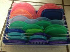 Pesky plastic lids.   Drying rack on top of dish rack