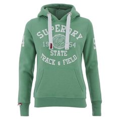 Superdry Women's Athletics Trackster Hoody - Pale Oregon Green (20.040 HUF) ❤ liked on Polyvore featuring tops, hoodies, green, green hoodies, green hoodie, superdry hoodie, hooded sweatshirt and patterned hoodies