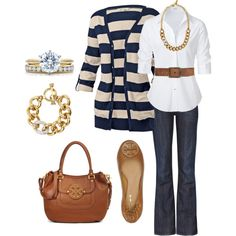 """""""navy & brown"""" by itsasecret-87 on Polyvore"""