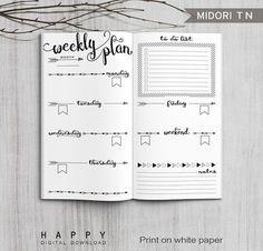 Printable Arrows Midori Weekly Planner Inserts, Fauxdori Bullet Journa – Happy Digital Download