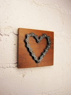 Bicycle chain heart on wood - wall hung