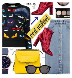 """""""Velvet boots"""" by cly88 ❤ liked on Polyvore featuring M.i.h Jeans, Fendi, Marc Jacobs, Yves Saint Laurent, Thierry Lasry and Bobbi Brown Cosmetics"""