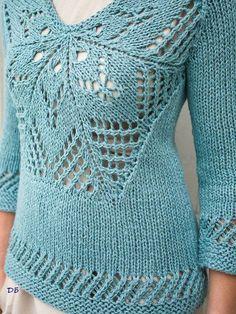 Пуловер с ажурной вставкой из Berroco FREE