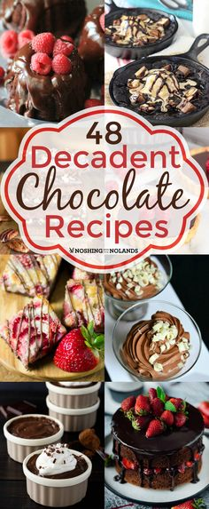 48 Decadent Chocolate Recipes from Noshing With The Nolands are fantastic for Valentine's Day, Easter, Christmas, birthdays and any other special occasion you may have!