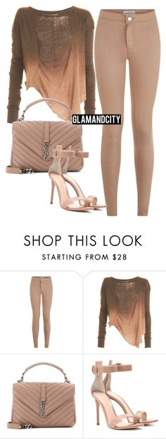 """Untitled #519"" by glamandcity ❤ liked on Polyvore featuring Raquel Allegra, Yves Saint Laurent and Gianvito Rossi"