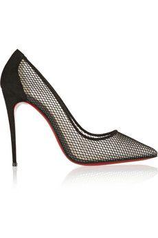Christian Louboutin Follies Resille 100 suede-trimmed mesh pumps  dream shoes