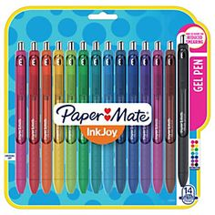 Shop Staples for Paper Mate InkJoy Gel Pens, Fine Point Assorted Colors, 14 Pack College Supplies, Classroom Supplies, Cute School Supplies, Art Supplies, Office Supplies, Papermate Inkjoy Gel Pens, Planning School, Pen & Paper, School Suplies