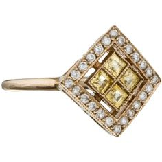 Pre-owned Sabine G. Harlequin Yellow Sapphire Ring ($1,395) ❤ liked on Polyvore featuring jewelry, rings, gold, yellow sapphire ring, 18 karat gold ring, sabine g jewelry, pre owned rings and 18k ring