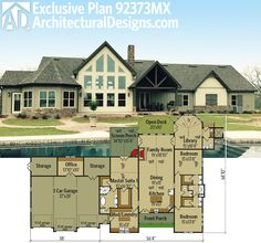 Architectural Designs Exclusive House Plan 92373MX seen from the back. Over 2,700 sq. ft. of living. Ready when you are. Where do YOU want to build?