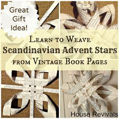 House Revivals: Christmas Swedish Advent Star -- A New Variation. Old sheet music or books All Things Christmas, Holiday Fun, Christmas Holidays, Christmas Ornaments, Christmas Tables, Book Crafts, Christmas Projects, Holiday Crafts, Norwegian Christmas