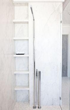 Modern shower shelves.