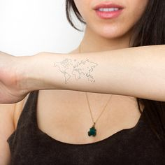Map of the World Temporary Tattoo Set by Tattify on Etsy