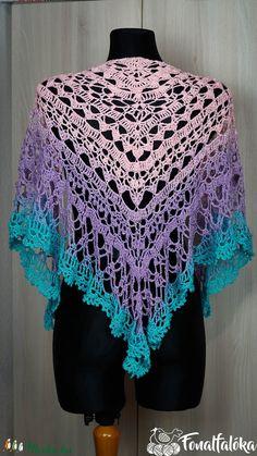 Vidám színű horgolt csipke kendő (Fonalfaloka) - Meska.hu Crochet Top, Tops, Women, Fashion, Moda, Women's, La Mode, Shell Tops, Fasion