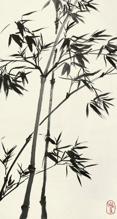 chinese INK BAMBOO Japanese Painting, Chinese Painting, Chinese Art, Japanese Art, Chinese Brush, Garden Drawing, Nature Drawing, Ink Painting, Watercolor Paintings