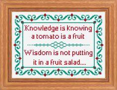 Knowledge and Wisdom Traditional Sampler, Cross Stitch PDF Pattern. £3.00, via Etsy.