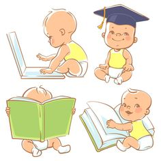 Set with cute babies in diapers. Genius little boy reading book. Toddler in graduate cap. Baby with computer. Concept of development of abilities of child and investment in the future of baby. Cute Little Baby Girl, Little Babies, Cute Babies, Baby Cartoon, Cute Cartoon, Album Scrapbook, Baby Illustration, Baby Stickers, Baby Drawing