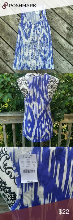 NWT! J.Crew ikat Blue Sequined Racerback tank size XS- runs big Sequin front New with tags! J. Crew Factory Tops Tank Tops