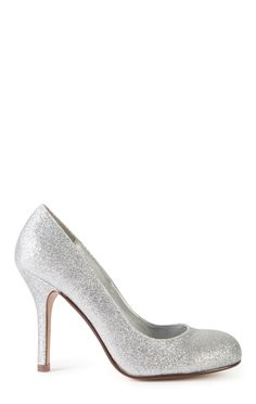 Deb Shops Single Sole Round Toe Glitter High Heels $15.00