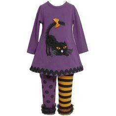 Bonnie Jean Girls 4-6X Purple Dimensional Black Cat Applique Dress / Legging Set