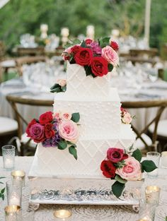 Square scalloped three tier wedding cake: http://www.stylemepretty.com/arizona-weddings/scottsdale/2016/08/19/outdoor-desert-scottsdale-wedding/ Photography: Brushfire - http://brushfirephotography.com/