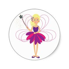 Cute Fairy Cake Toppers/Stickers   Cute fairy children's Stickers, these are so pretty I am sure your kids will love using them. Why not use them to make cupcake toppers for a party or stick them on the party bags. Feel free to click on customize to add some text, maybe a name or happy birthday, no extra charge.