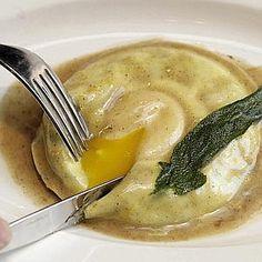 soft egg ravioli with black truffle butter.  michael anthony's, hilton head.
