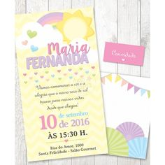 Convite Festa Arco Iris Baby Esther, Sunshine Birthday Parties, Baby Shower, Baby Shark, You Are My Sunshine, 10th Birthday, Birthday Invitations, Aurora, New Baby Products