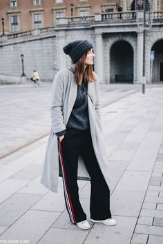 SAMSOE & SAMSOE c/o long coat, ACNE STUDIOS knit, MANGO track pants, MONKI beanie, COACH bag, ADIDAS sneakers