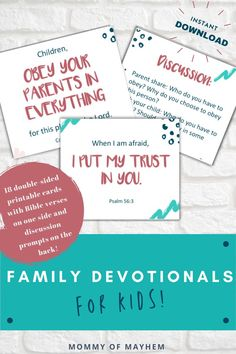If you're looking for simple printable family devotion ideas for daily family Bible studies, check out these Bible verse cards with discussion prompts for preschoolers, toddlers, and young kids.