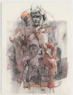 Jenny Saville. Interesting use of mixed media. Overlapping different sized figures