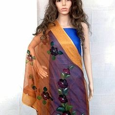 Floral design on orange shaded dupatta