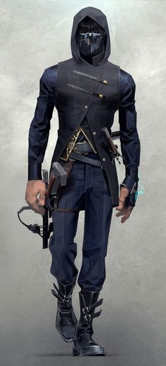 View an image titled 'Corvo Attano Art' in our Dishonored 2 art gallery featuring official character designs, concept art, and promo pictures. Character Concept, Character Art, Concept Art, Character Reference, Character Outfits, Art Reference, Dishonored 2, Sci Fi Characters, Halloween Kostüm