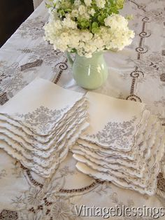INCREDIBLE Hand Embroidered Needle Lace Tablecloth & 12 Napkins Vintage LINEN  www.Vintageblessings.com