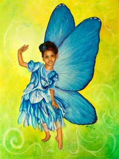 "Blue Fairy, 2011  Oil & Pigment on Canvas  24"" x 18  by Blanca Plata"