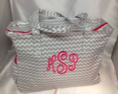 Grey chevron diaper bag laminate monogram baby name personalized girl gift on Etsy, $49.00