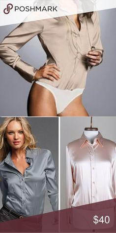 Victoria's Secret silk bodysuit blouse multiple c Victoria Secret button-up blouse bodysuit silk in various colors Navy blue is left Victoria's Secret Tops Blouses