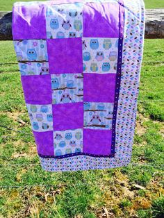 Owl Crib Quilt in Multi by NeNesQuilts on Etsy