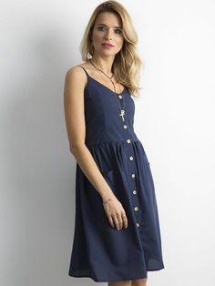Granatowa sukienka z guzikami - Sukienka na co dzień - sklep eButik.pl Casual, Dresses, Fashion, Vestidos, Moda, Fashion Styles, Dress, Fashion Illustrations, Gown