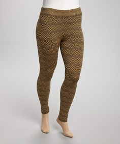 Love this Gold & Black Zigzag Leggings - Plus on #zulily! #zulilyfinds
