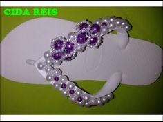 chinelo bordado com pérolas flor violeta - YouTube