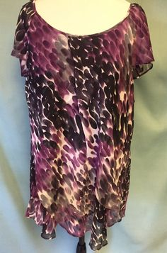 Shades of Purple Tunic Size 3x flowing vertical ruffles Cap Sleeves  #Dressbarn #Tunic #Casual
