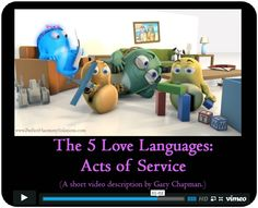 ACTS OF SERVICE: Dr. Gary Chapman released the third video short in the Love Language series. This one features the Love Language: Acts of Service. Do Acts of Service make YOU glow? Here are the links to the other videos in case you missed them: Quality Time: https://vimeo.com/126379391; Words of Affirmation: https://vimeo.com/126138502; Physical Touch: https://vimeo.com/124843501; Gifts: https://vimeo.com/125468851; Acts of Service: https://vimeo.com/125684359)