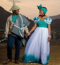 LATEST AFRICAN STYLES: All the shweshwe dresses you see here are all in all hand made,so not available to buy wherever African Wedding Attire, African Attire, African Wear, African Dress, African Weddings, Sesotho Traditional Dresses, African Traditional Wedding, Traditional Weddings, African Print Fashion