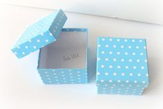 Set of 6 Blue White Polka Dots Boxes with LidGift by StudioIdea