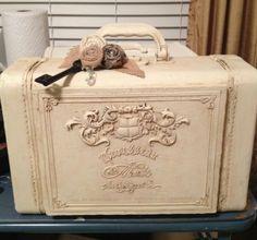 Upcycled vintage train case luggage