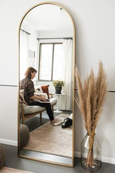 floor mirror in bedroom Living Room Mirrors, Living Room Decor, Mirror Bedroom, Full Length Mirror In Living Room, Ikea Mirror, Dining Decor, My New Room, My Room, Aesthetic Room Decor