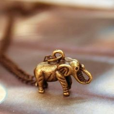 $4.99 Vintage Antique Brass Elephant Pendant Chain Necklace at Online Jewelry Store Gofavor